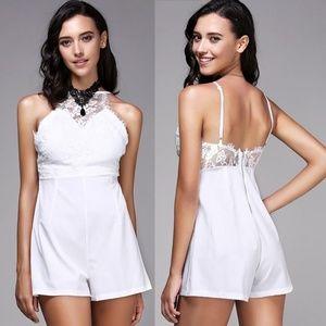 Pants - White Eyelash Lace Sleeveless Top Romper M
